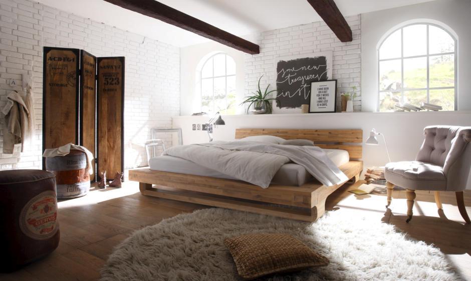 кровать из натуральнго дерева стиль лофт современный фото