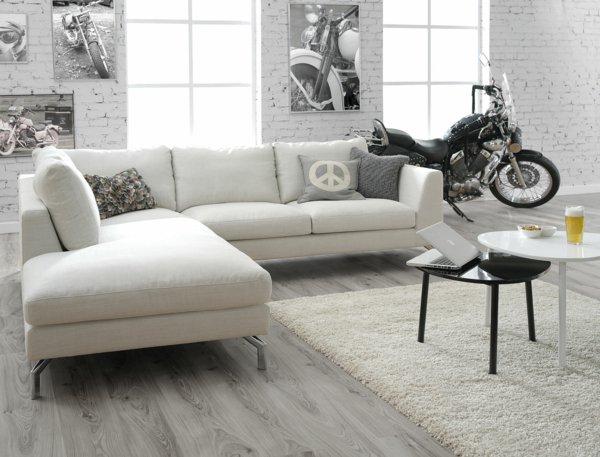 малогабаритный угловой диван белый фото стиль лофт