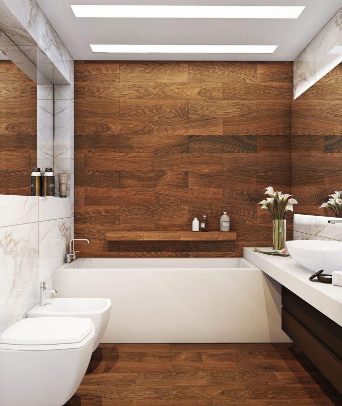 мраморная и деревянная плитка для ванной в хрущевке