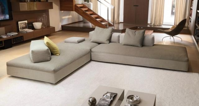 низкий угловой диван серый фото в интерьере