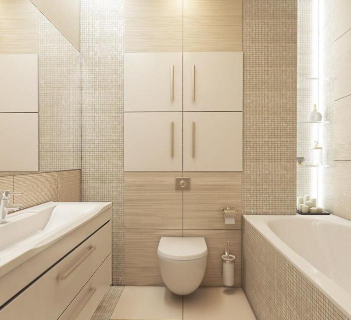 плитка для ванной под дерево бежевая мозаика маленькая ванная комната