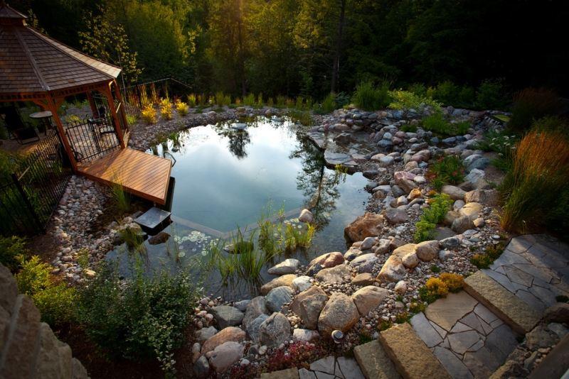 садовые пруды фото с беседкой