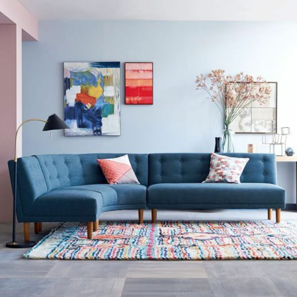 синий угловой диван скругленный фото тканевый