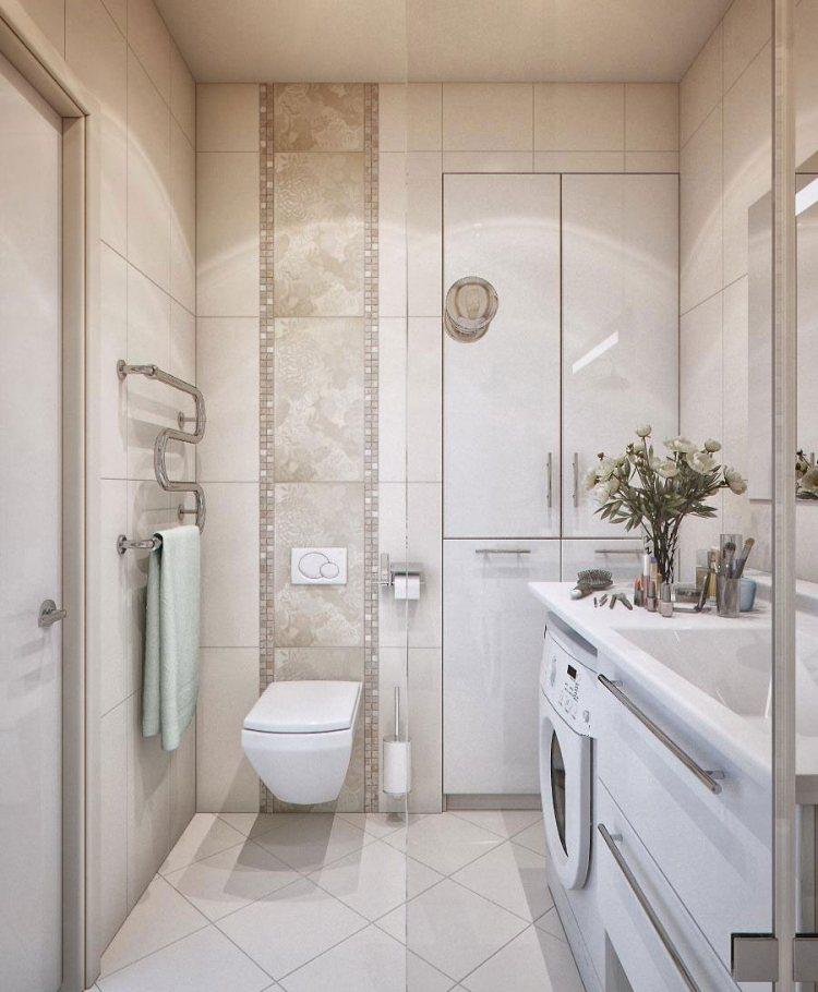 современный интерьер маленькой ванной бежевая плитка шкаф вертикальный узор