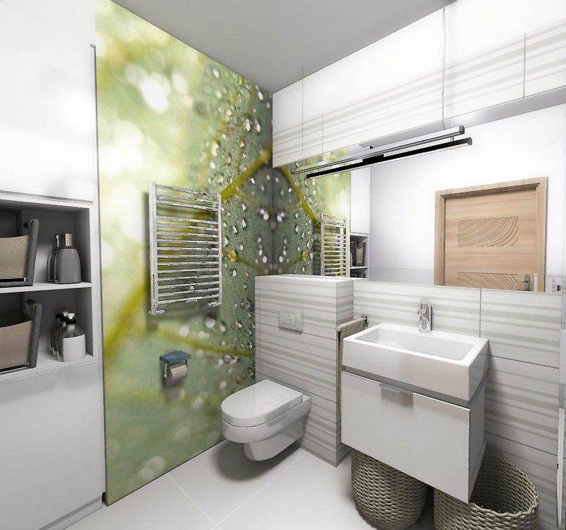 современный интерьер маленькой ванной комнаты фотообои лист капли макросъемка фото