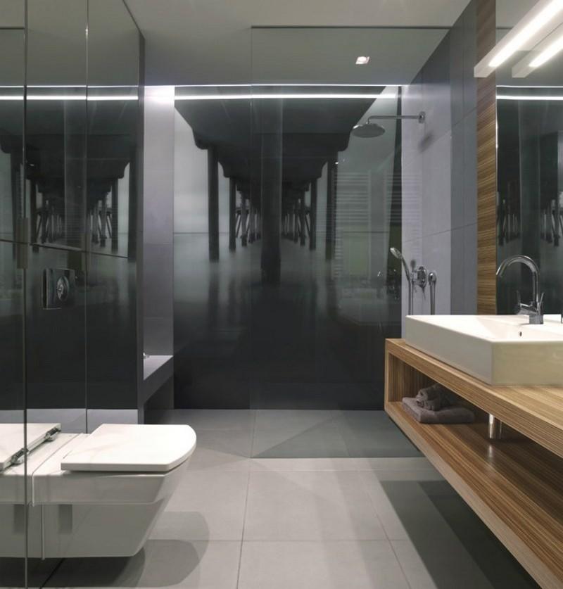 современный интерьер ванной комнаты нейтральные цвета черно-белые фотообои мост