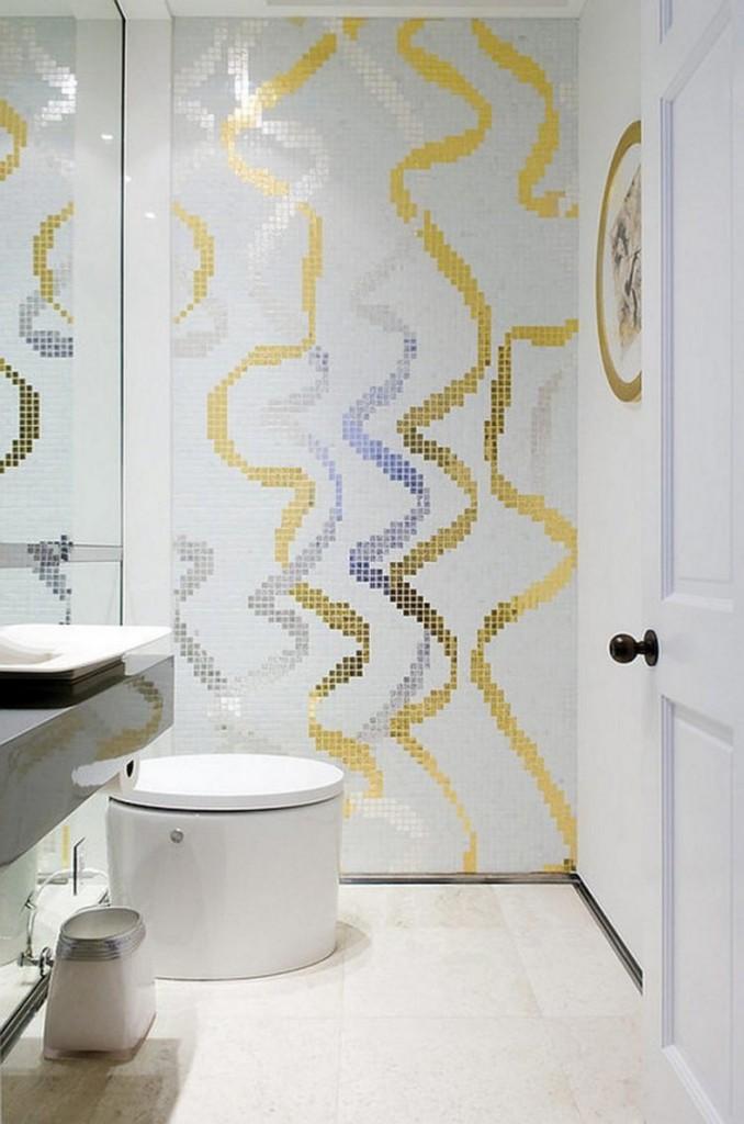 современный интерьер ванной комнаты плитка-мозаика белая серебрянная золотая