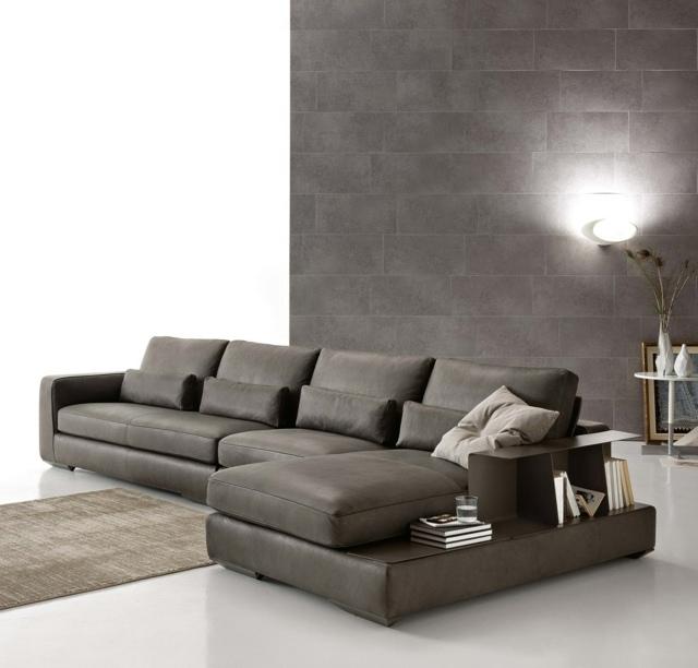 темно-серый угловой диван стильный фото кожаный