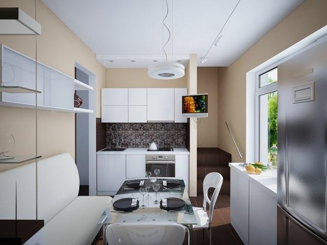 Дизайн маленькой бело-бежевой кухни фото