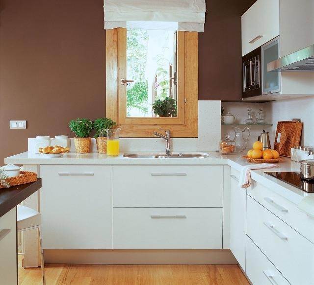 белая кухня в интерьере реальные фото коричневые стены