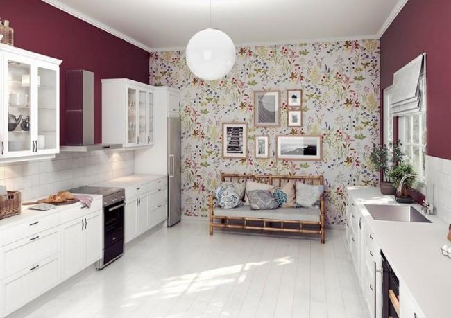 бело-фиолетовая кухня фото реальное белые фасады баклажановые стены