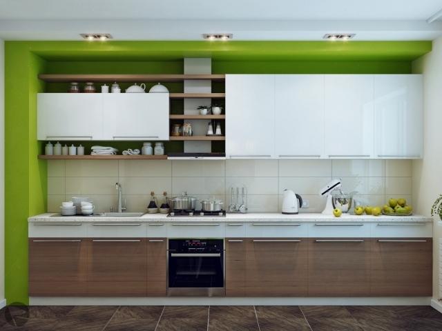 бело-зеленая кухня фото белый верх дерево бежевый фартук