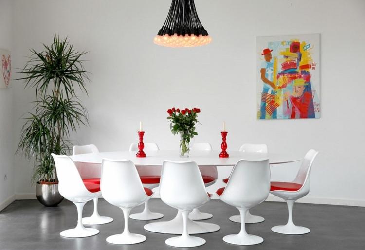 дизайн интерьер столовой фото белый красный цвет