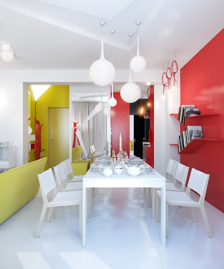 дизайн интерьера столовой фото яркие цвета красный зеленый белый