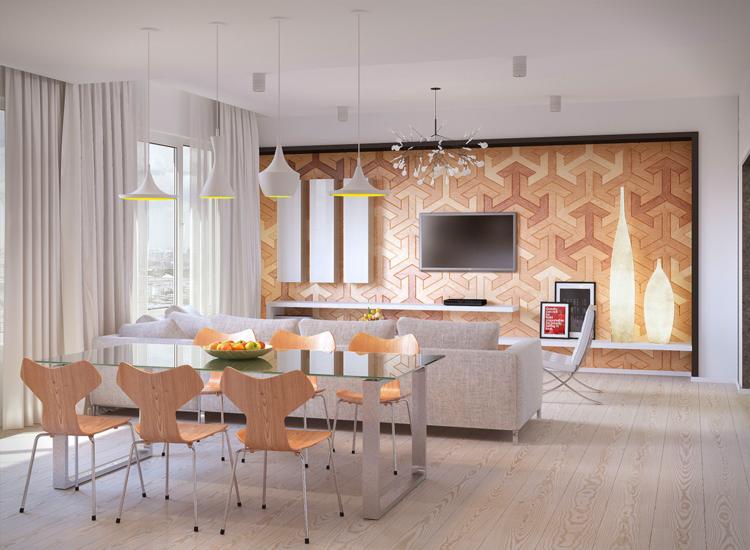 дизайн интерьера столовой гостиной фото серый диван стеклянный стол