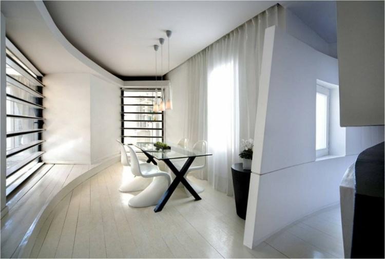 футуристичный дизайн столовой фото белые стулья стеклянный стол