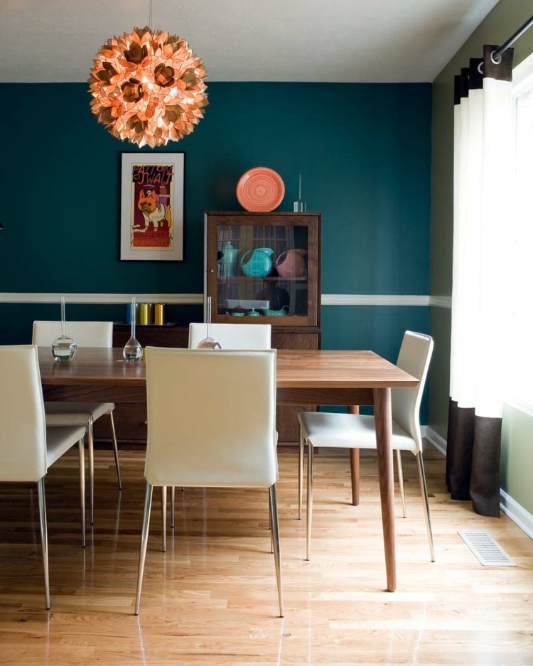 интерьер гостиной со столовой фото современный интерьер синяя стена