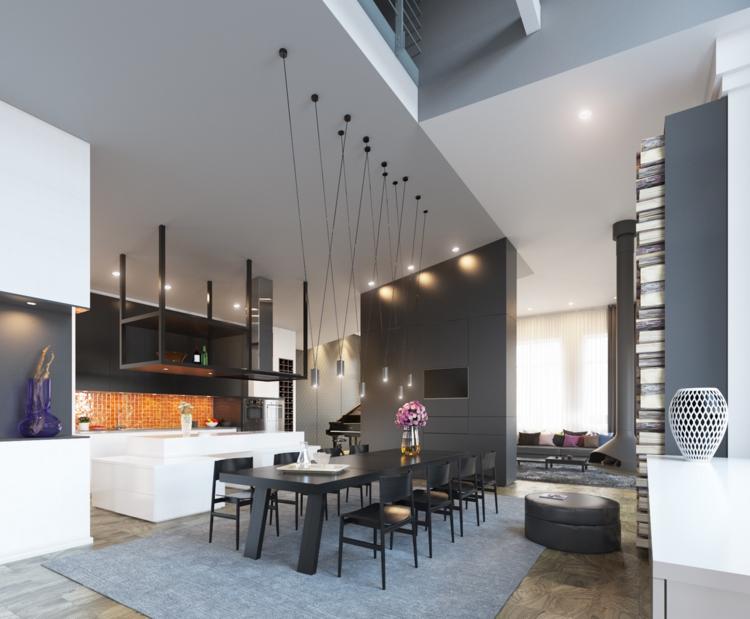 интерьер кухни столовой в частной доме фото