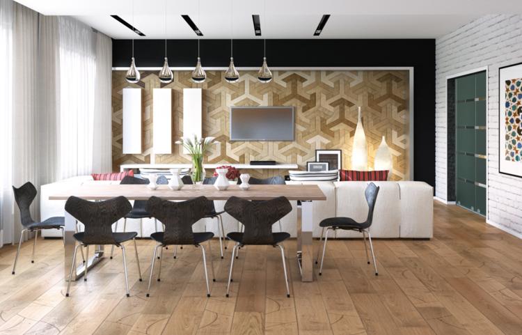 интерьер столовой гостиной в доме фото белый диван деревянный стол