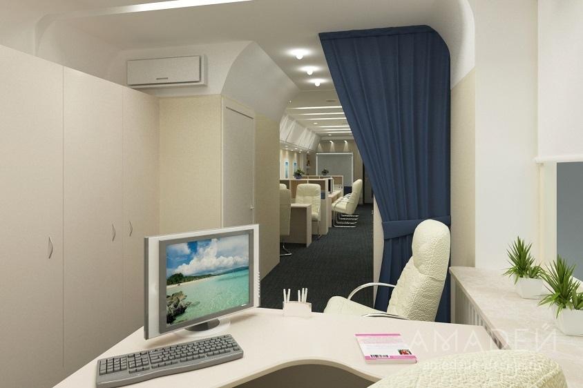 интерьер в виде самолета фото офис дизайн