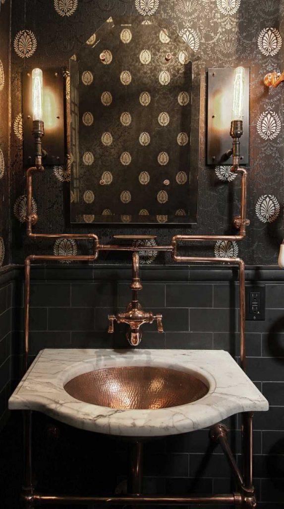 картинки стиль стимпанк ванная фото интерьер дизайн элементы