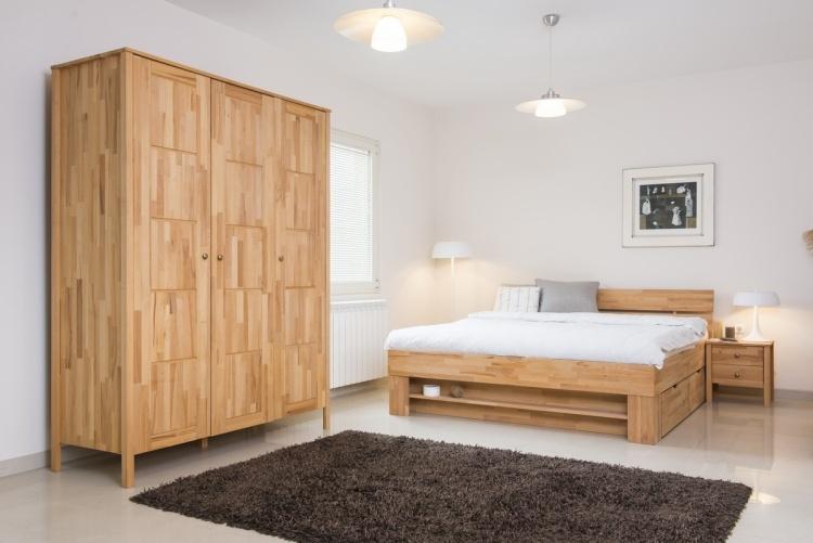комплект с деревянной кроватью с ящиками фото идеи для маленькой спальни