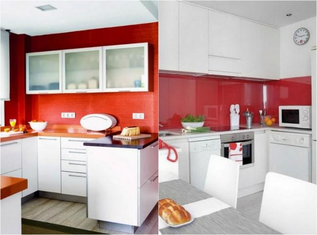 красно-белая кухня фото реальное маленькая кухня матовая
