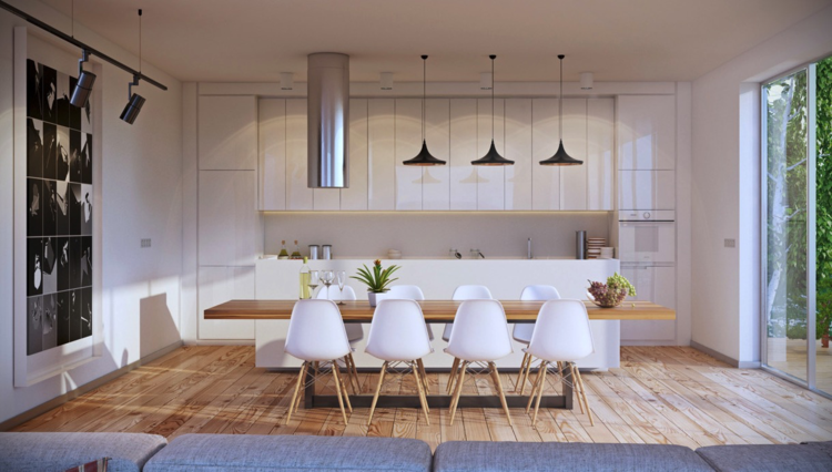 кухня гостиная столовая интерьер фото дизайн белый цвет светлый паркет частный дом