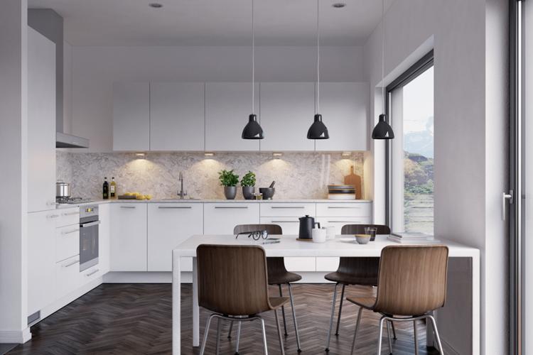 кухня столовая 20 кв м дизайн фото белая кухня