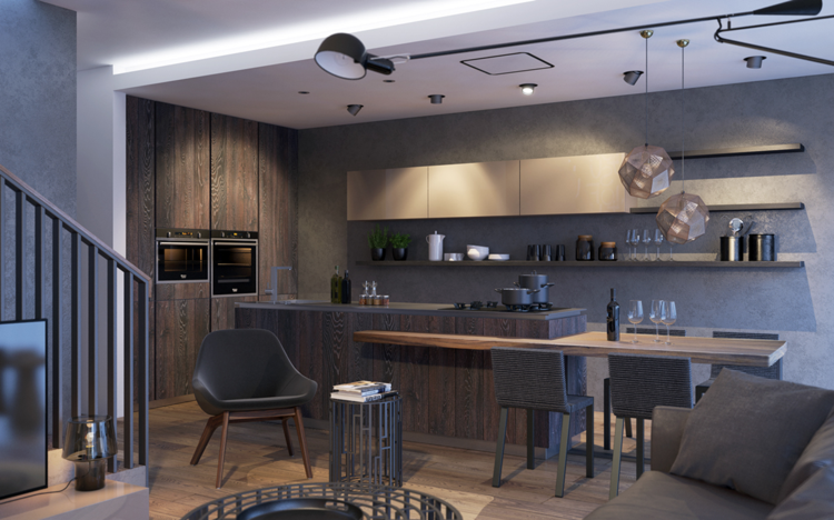 кухня столовая гостиная интерьер частный дом фото темно-серый