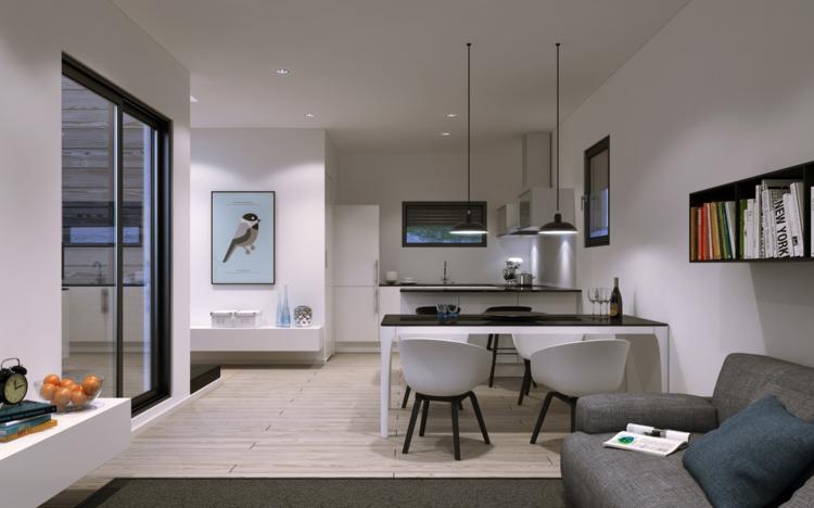 кухня столовая гостиная интерьер фото дизайн черный белый современный стиль
