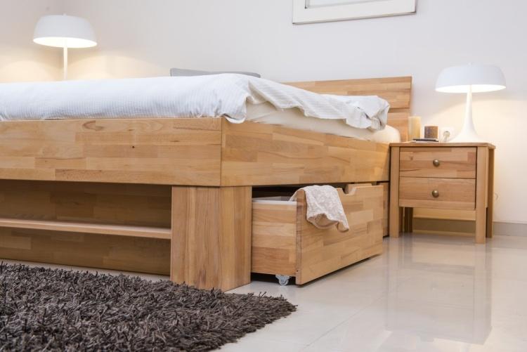 массив дерева кровать двуспальная с ящиками для хранения фото идеи для маленькой спальни