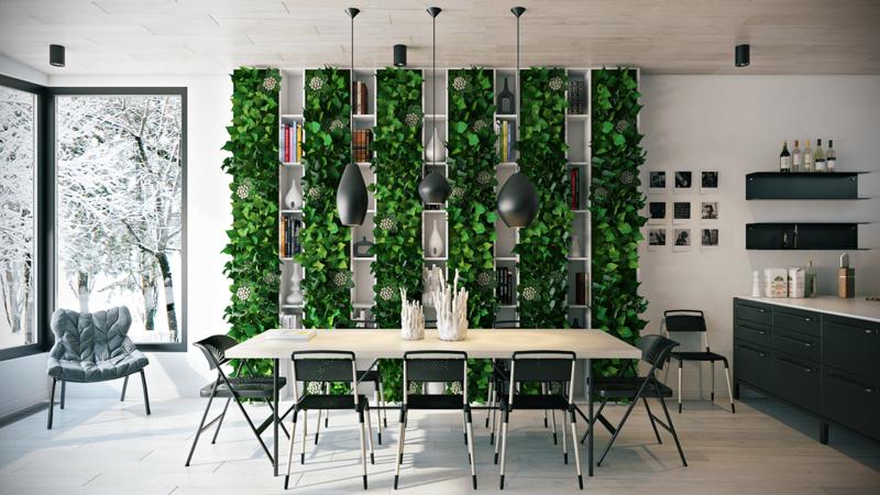 оформление обеденной зоны на кухне фото растения полки