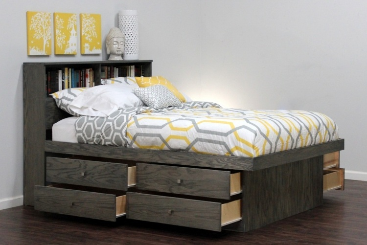 полки в изголовье ящики под кровать фото идеи для маленькой спальни