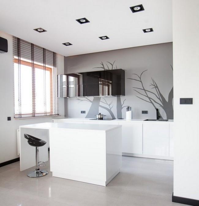 серо-белая кухня фото реальное студия
