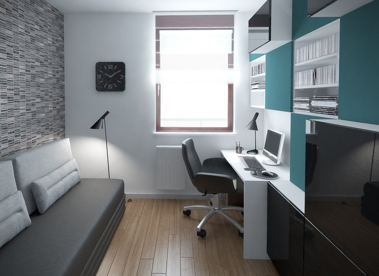 современный стиль кабинета в квартире фото белый серый мятный