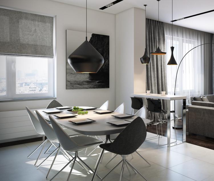 столовая гостиная фото квартира студия черно-белый-серый