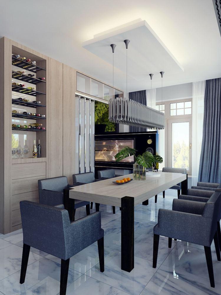 столовая интерьер в частном доме фото серый цвет черный