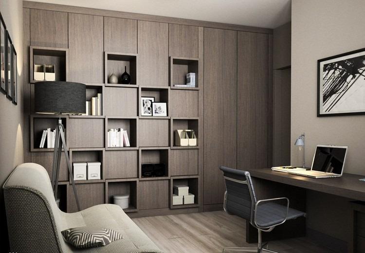 строгий дизайн кабинета для мужчины фото интерьер серый черный