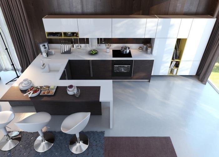 барные стулья для кухни фото белые пластиковые черно-белая кухня