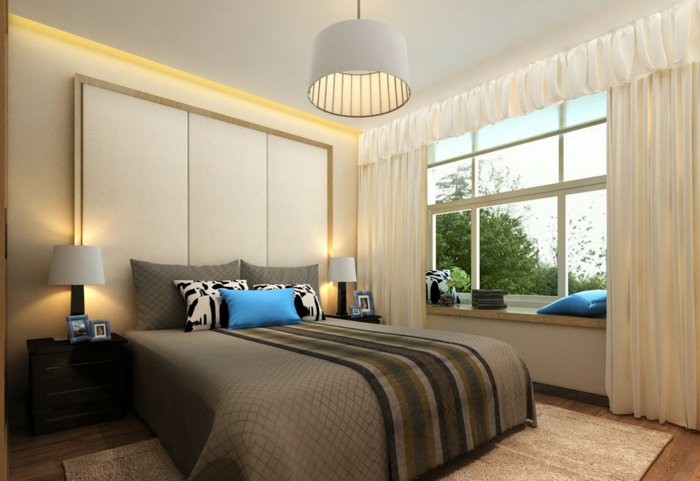 белая текстильная люстра в спальне фото в интерьере