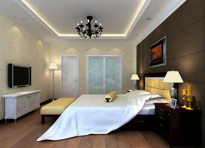 черная люстра в интерьере спальни фото