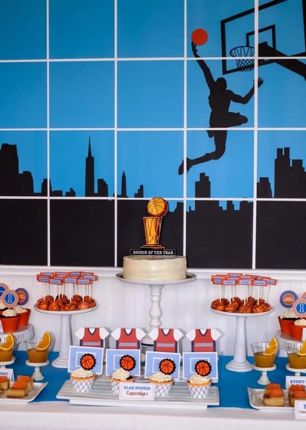 декор оформление детского праздника фото в стиле баскетбол спорт сладости идеи
