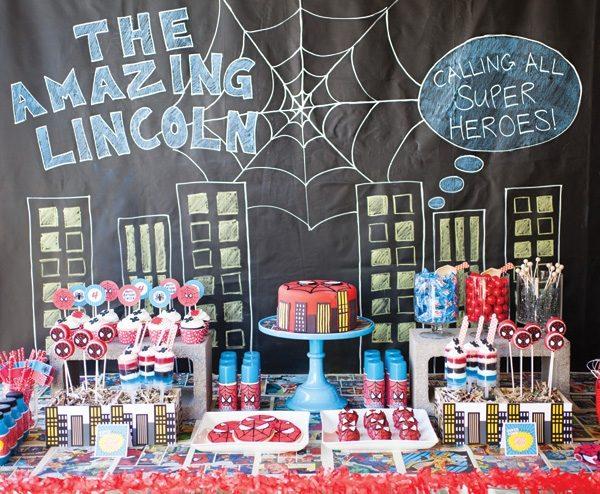 декор оформление детского праздника фото в стиле человек-паук сладости идеи