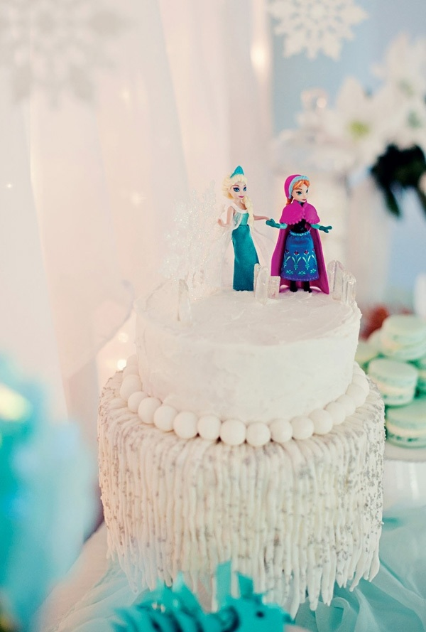 декор оформление детского праздника фото в стиле холодное сердце торт
