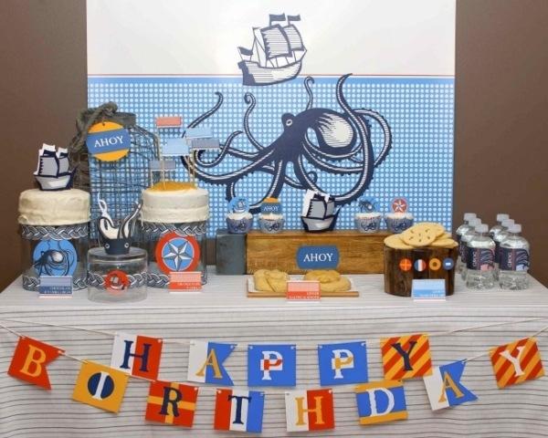 декор оформление детского праздника фото в стиле морском украшения идеи