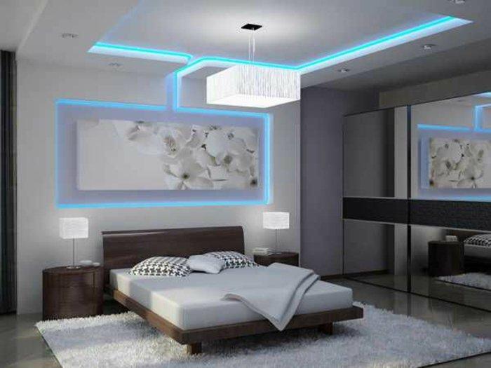 дизайн освещения в спальне лед подвесной потолок фото голубой свет