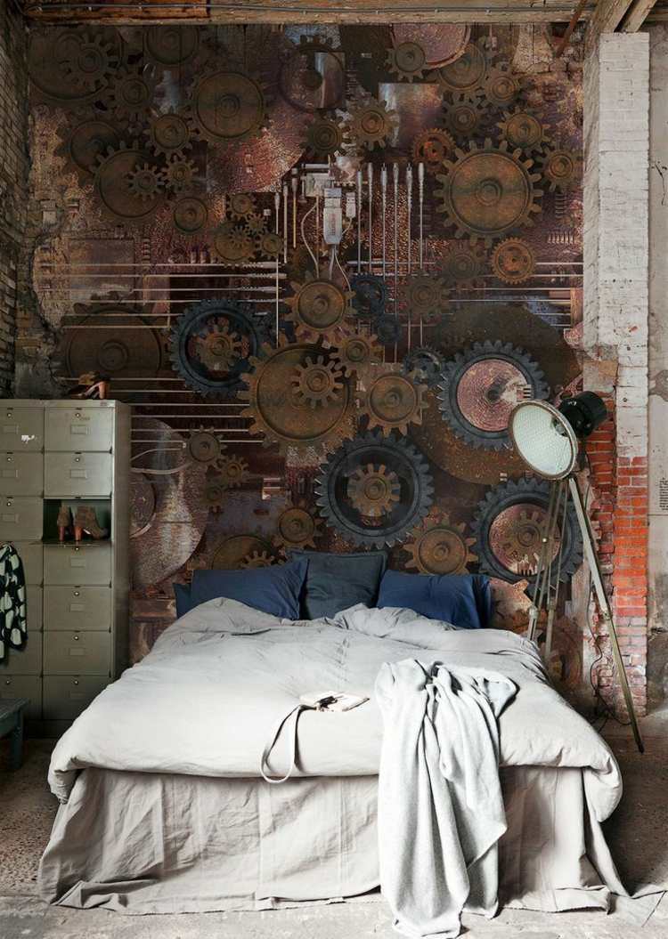 дизайн стимпанк фото интерьер спальни комнаты