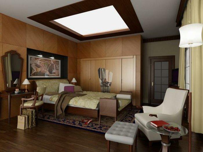 идея освещение в спальне подвесной потолок фото