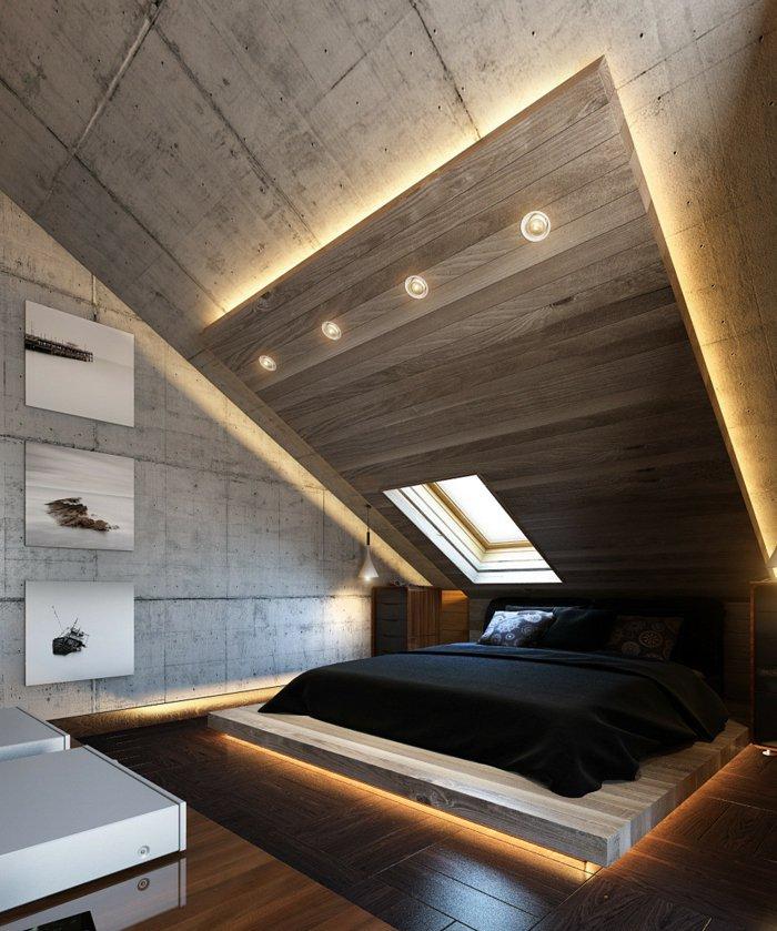 идея освещения спальни фото индустриальный стиль лофт